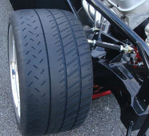 Matching the tire to the application is very important. Here, the asymmetrical semi-slick tread pattern and sticky 80 tread-wear rating of these Michelin Pilot Sport Cup tires is actually a conservative choice. They're only rated to 186 mph, which means these are the car's street tires. On race days it wears full-race non-DOT rubber. For most Pro Touring/ Restomod muscle cars, these tires would be serious overkill and they would be much better served with a Z speed-rated tire with twice the tread-wear rating. (Photo Courtesy Steve Johnston)