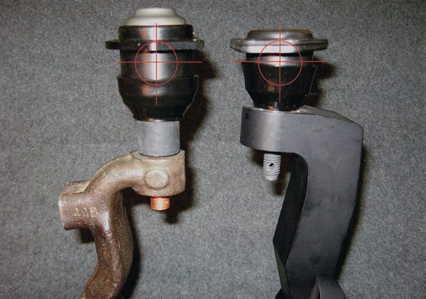 An alternative to using tall spindles for geometry change is tall ball joints. Since the outboard pickup points for the suspension are in the ball joints themselves, it's a very direct way to get the geometry gains you want. Although non-stock ball joints have been used for some racing applications for years, SC&C was the first to build whole, integrated suspension packages around the tall (modular) ball-joint concept and apply them to geometry-challenged muscle cars. Here, you can see that the upper ball-joint pickup point of a StreetComp Stage 2-Plus tall ball-joint package is nearly identical to that of a common-height GM A-body aftermarket tall spindle. Aftermarket spindles may have other built-in advantages (such as different brake mounting, larger wheel bearings, various amounts of drop, etc.), but the fundamental geometry can be changed just as efficiently either way. The tall-ball-joint approach is generally more cost effective.