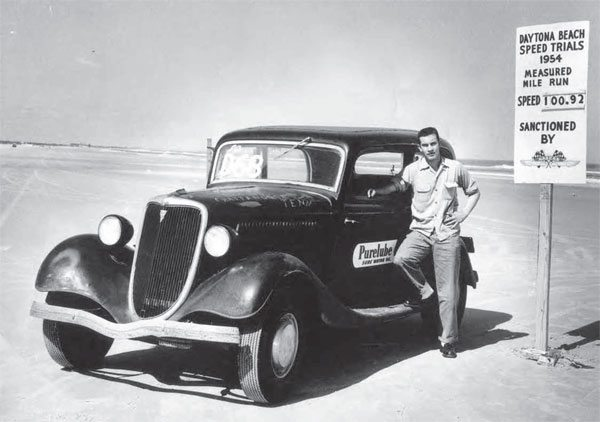By the end of the 1940s, the exhibition of speed was nothing new but it certainly increased in popularity. As seen in this photo from Daytona Beach, Florida, this 1934 Ford sedan ran a NASCAR-sanctioned 100.92 mph in a one-mile run. That's a strong number for the time, from what looks to be a street car. (Photo Courtesy Larry Rose Collection)