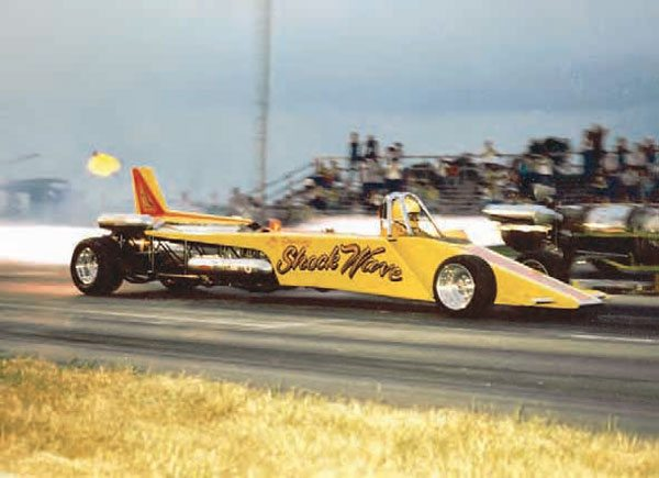 Everyone loves a jetcar match race, so drag strip operators often invited these exhibition vehicles to draw in large crowds. The ultimate wow factor comes when these jet-powered dragsters bump into the staging beams and leave the line. Lee Shockley's aptly named Shock Wave dragster is seen here at Motion Raceway. (Photo Courtesy Steve Jackson)