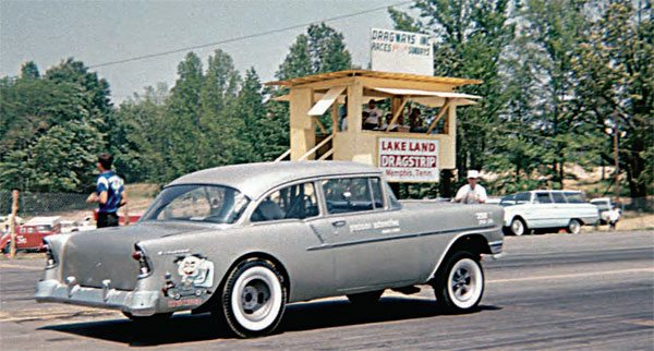 Like most drag strips in the south, Lakeland started small. It was essentially a strip of pavement with a small timing tower and very few amenities. Its location in Memphis made for a huge following of racers, and this photograph depicts a very simple time for the legendary track, which was actually known as Lake Land Dragstrip at the time. (Photo Courtesy LPC Photo, Larry Chambers)
