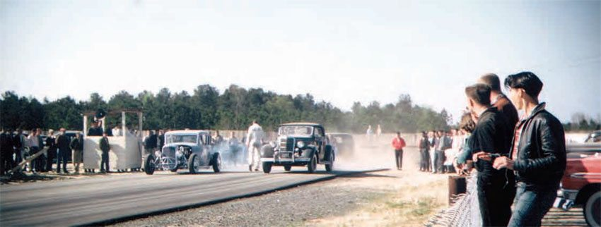The South was home to some of the most unsafe drag racing in the country, but this level of danger is what kept folks coming back on a regular basis. The lack of guardrails or any other form of safety equipment didn't keep racers or spectators from supporting their local tracks. (Photo Courtesy Larry Rose Collection)