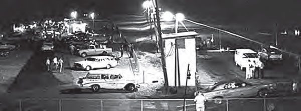 Although dark and grainy, this shot from atop the hill at Brainerd shows the track in the 1970s. At that time, the track was run as a full quarter-mile track, but was shortened in the 1980s due to safety concerns. It still runs as an eighth-mile track with a lengthy shutdown area. (Photo Courtesy Richard McFalls)