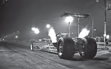 Jeb Allen prepares for a blast down Lions Drag Strip during the last drag race. Allen fought his way through several rounds, and made it to the finals after being inserted back into the ladder after the Cerny & Moody fueler hurt an engine in the semi finals. Allen lost to Carl Olson in the finals. (Photo Courtesy Don Gillespie Collection)
