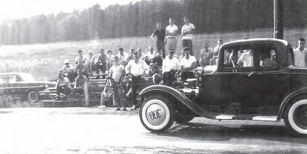 As the years passed, engine swaps, extensive chassis modifications, and experimental drivetrain combinations made for some very unique cars. At Maryville Drag Strip in Tennessee, this '32 Ford five-window coupe looks to be mostly stock, with power from a 348-ci Chevy W engine. For a very short window of time (1958–1965), the W engine was a phenomenal powerplant for race cars across the country. (Photo Courtesy David Giles Collection)