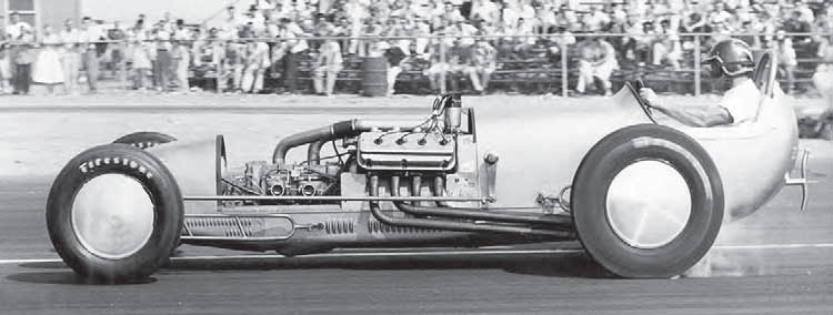 When the NHRA put a ban on nitro in 1957, drag racers had to find other ways of making power, so many resorted to superchargers. Generally, these blowers mounted atop the engine, but many racers used a Potvin blower drive, which positioned the blower in front of the engine (driven directly off the crankshaft) for better aerodynamics and driver visibility. (Photo Courtesy Larry Rose Collection)