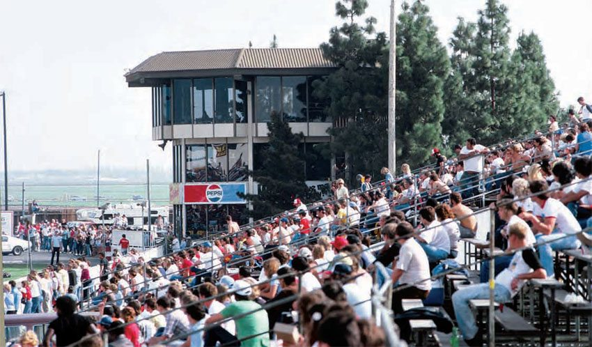 OCIR's seating gave spectators a great view of the action, while the distance from the racing surface provided a safe atmosphere when compared to other drag strips at the time. This mixture of safety and viewing pleasure kept spectators coming back to see the biggest events, which were typical (and year-round) for West Coast tracks. (Photo Courtesy Don Gillespie Collection)