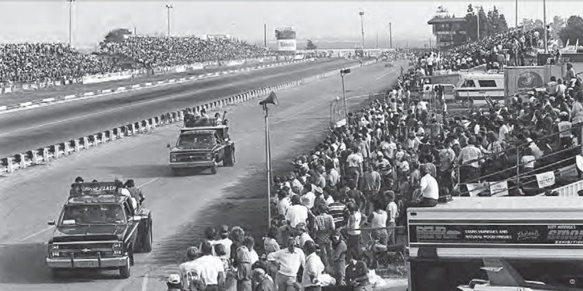 This shot shows the landscape of the track, and its vast distance between the racing surface and the bleachers. This was uncommon in drag racing when OCIR was first built in 1967, as spectators were accustomed to being on top of the action. It became the standard for all major tracks due to safety concerns. (Photo Courtesy Don Gillespie Collection)
