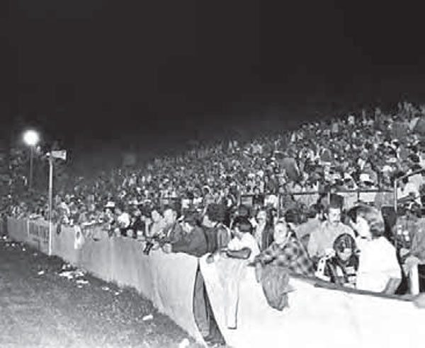 Just like the last drag race at Lions, the final big event at OCIR filled the place to capacity. The majority of the crowd stayed until 3:00 am to watch the final rounds, which pitted the nation's biggest names against each other in a fitting end to an amazing Southern California drag strip. (Photo Courtesy Don Gillespie Collection)