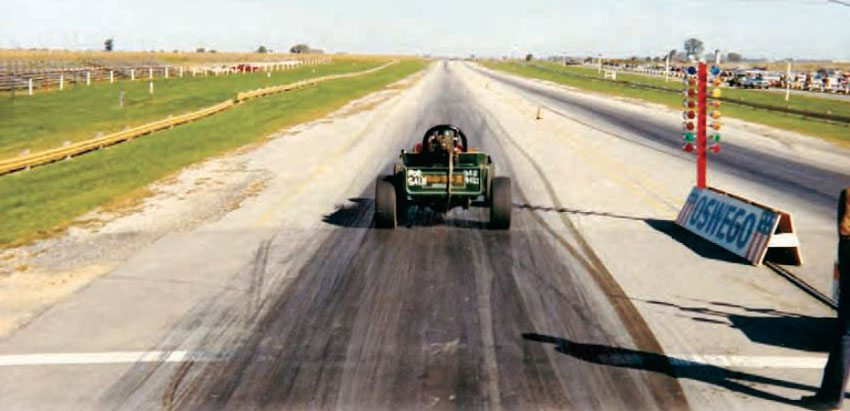 """Oswego provided plenty of wiggle room but don't be fooled by the expanse of grass between the track and the guardrail, because it is slightly banked. Oswego was the site of a major crash for Bill """"Grumpy"""" Jenkins during a big match race in 1977, which left his Pro Stock Monza atop the guardrail. (Photo Courtesy Brent Fregin)"""