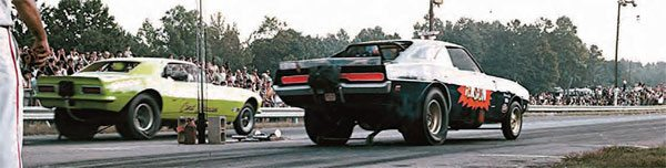 Georgia drag racing legend Shirl Greer (near lane) leaves the line at Southeastern in his Tension funny car. Notice that the track has a bit of a crown and an un-level starting line, similar to Paradise Drag Strip. Both Paradise and Southeastern featured uphill burnout areas. (Photo Courtesy Fred Simmons)