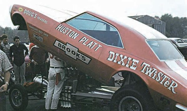 By 1969, funny cars were all the rage, and gone were the days of stock frames and steel bodies. With limited traction and nitro as the fuel of choice, early funny cars were nothing short of volatile. Huston Platt's Dixie Twister Camaro was a fan favorite, but the car's wow factor turned tragic at Yellow River Drag Strip. (Photo Courtesy Doug Cole)
