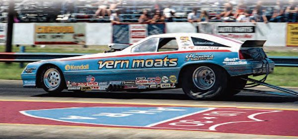 Vern Moats is seen leaving the line at U.S. 30 during the track's last season. The 1984 AHRA Grand American Nationals was one of the last big meets for the northern Indiana track. Note the U.S. 30 AHRA shield logo painted between the lanes. (Photo Courtesy Mike Sopko)