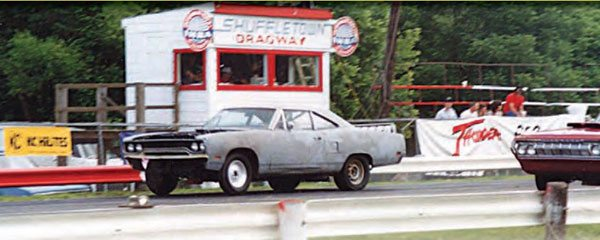 With Pro Modified racing as its claim to fame, Shuffletown Dragway also served as a great place for regular bracket racing, as well as a place for street cars to legally do battle. This shot offers a good view of the timing tower, which is still standing today. (Photo Courtesy David Smith)