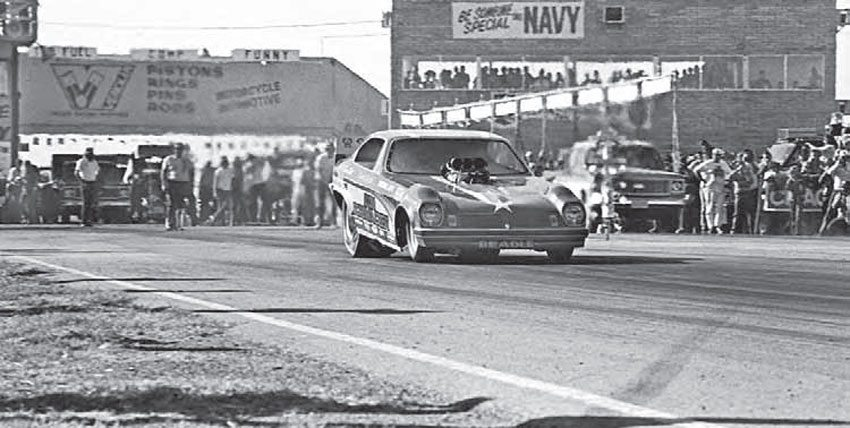 This shot of Don Schumacher's Vega funny car also offers partial views of the track's massive timing tower and catwalk. The timing tower was a new addition to the track for the 1972 season, even though the previous tower was considered top-of-the-line when it was built in 1963. (Photo Courtesy Don Gillespie Collection)