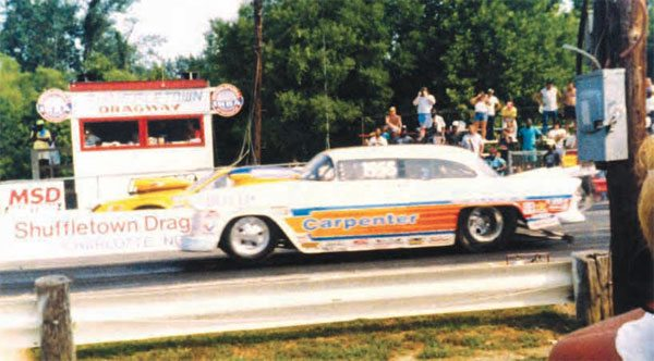 The 1955 Chevy in the near lane is none other than Charles Carpenter, one of the forefathers of Pro Modifi ed drag racing. Starting as a Top Sportsman Quick-8 type of event, it quickly grew into its own class, with drivers such as Scotty Cannon and Rob Vandergriff coming onto the scene with big-inch engines and lots of nitrous. (Photo Courtesy Van Abernethy)