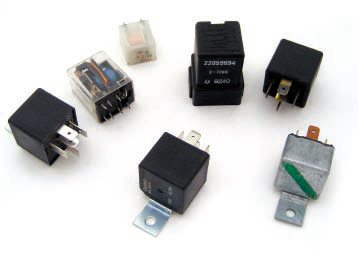 Relays are available in all shapes and sizes. Shown are S.P.S.T., S.P.D.T., and D.P.D.T. versions.