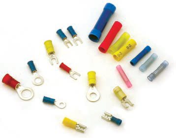 Insulated connectors are my connector of choice because it saves time when you don't have to insulate the connector after the crimping has been done. I have many different types of these on hand to accommodate any crimping job that I may come across.