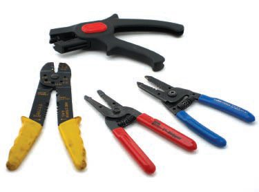 Wire strippers are the most commonly used wiring tools. The black pair at the top are Blue Point model PWC-22; they strip the ends of wires from 12 AWG to about 18 AWG. The red-handled pair are Ideal T-strippers and for wires 18 AWG and smaller. The blue-handled pair is from Klein and for wires from 10 AWG to 18 AWG.