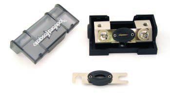 The ANL fuse has proven popular with the aftermarket because it is ideal for very high current accessories. The fuse holder and fuses shown are available from Rockford Fosgate.