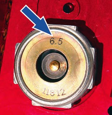Be sure to use a power valve that switches at a lower vacuum than the idle or cruise vacuum. A 6.5 (as shown here) is typical for a performance street engine. If it is a really hot street/strip unit, a 4.5 is more appropriate.