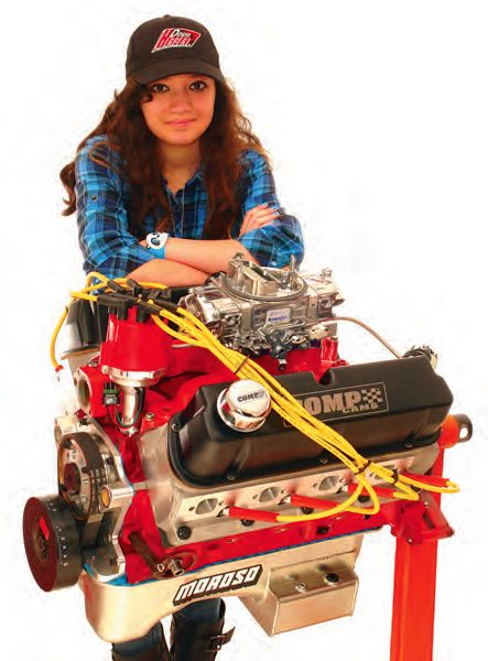 Other than the use of a set of fully ported and assembled Dart 170-cc intake runner heads, Jacque Vizard built this engine entirely on her own and from mostly used dyno mule parts. It was to power her race car for the following year. This 306-inch 10.5:1 engine was equipped with a Comp Cams Extreme 280 hydraulic roller and an Edelbrock Air Gap Performer intake. After a day's dyno testing at Doug Herbert's shop, it cranked out 380 ft-lbs and 447 hp on a slightly tweaked vacuum secondary 650. Mods included replaceable air bleeds and secondary metering block, four-corner idle. Result? A glass-smooth 600-rpm idle, great throttle response, and strong torque output from 1,200 rpm up. Jacque completed this engine two days past her sixteenth birthday.