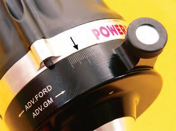 The optimal ignition timing can change from that required on a cool, dry day to that required on a hot, humid day. You can use a thumb wheel to change the timing by one degree without having to loosen the distributor, which is a definite asset.