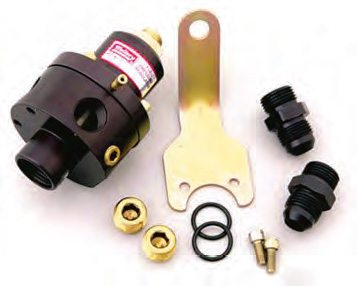 This Mallory pressure regulator can be boost or manifold-vacuum pressure referenced. This allows a reduction in fuel pressure to be made at idle. This is especially useful for alcohol-fed engines where the pressure at maximum output may need to be as high as 9 psi. If more pressure than this is required, investigate the needle/ seat flow as it may be questionable.