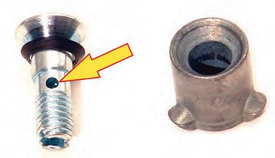 If squirters more than 0.035 are used, the hollow securing screw must be used to avoid restriction at the screw location.
