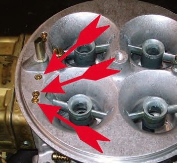 Boosters work in conjunction with the air-correction jets. The greater the gain, the bigger the air corrector needs to be; otherwise the mixture becomes too rich at the top end. The high-speed (main circuit) air correctors (top arrow) are the most affected. The idle-circuit air correctors (bottom arrow) are virtually unaffected while, on Dominator-style carbs, the intermediate circuits (middle arrow) may need some minor correction.