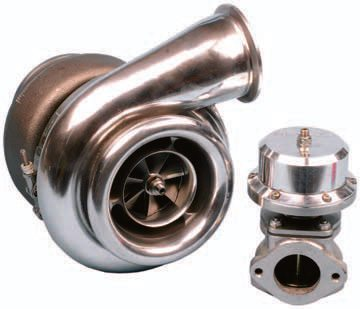 A turbocharger system requires the use of a wastegate, which limits the amount of exhaust pressure that enters the turbo. A turbocharger features two sections. The cast-iron section accepts the engine's exhaust, driving an impeller. This in turn drives the impeller located in the aluminum air-charge section, producing pressurized air that is sent to the engine's intake.