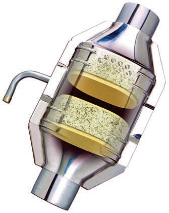 A three-way catalytic converter features an air injection tube that provides additional oxygen to enhance the chemical oxidation reaction process. Two substrate chamber sections are featured; the front chamber is designed to handle oxides of nitrogen, while the second chamber deals with reduction of hydrocarbons and carbon monoxide emissions. (Photo Courtesy Eastern Catalytic)