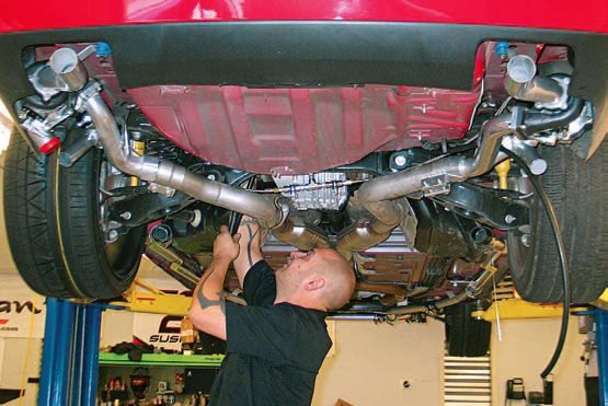 With the turbochargers installed at the very rear of the vehicle, no additional mufflers were needed. The turbos' restriction serves to reduce the exhaust note.