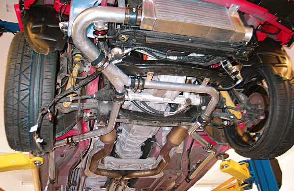 critical as the air-charge outlet from the turbo. If the air-charge pipe is too small in diameter, it can result in excessive backpressure, which can lead to oil leakage, blowby, oil smoke exiting the exhaust when off-throttle, reduced horsepower, and lower maximum engine RPM.