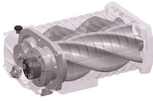 As a twin-screw supercharger's helical screws rotate toward each other, air is progressively compressed as it is routed along the length of the screws. (Photo Courtesy Whipple Industries)