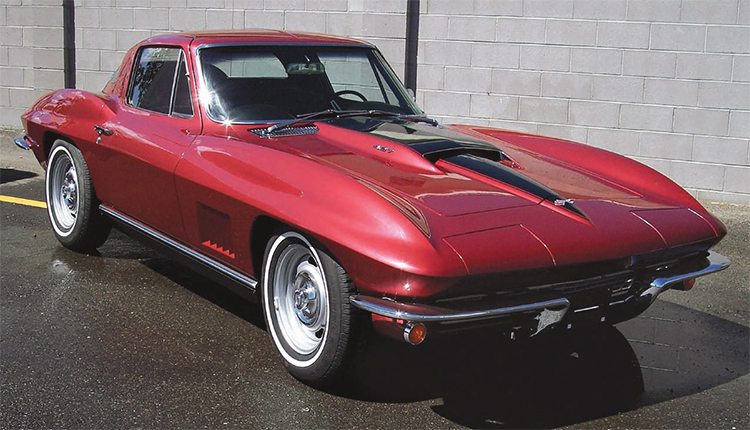 """The example for our complete paint job is a semi-rare 427 big-block, 4-speed, '67 Stingray Corvette that was essentially restored, but got painted a previous-year Milano Maroon instead of the correct Marlboro Maroon. John Harvey, who does custom bodywork and painting on a limited basis in a large shop he has built on his property South of Albuquerque, New Mexico, was therefore given the job of completely repainting a car that was already painted and """"finished"""" by someone else. This is how it looked after he repainted it in the correct color."""