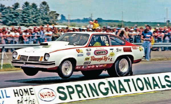 Grumpy Jenkins collected his last national event win as a driver at the 1975 NHRA Springnationals. He drove the Vega to an 8.98 at 152.28 to defeat Roy Hill's Duster, which turned in a 9.16 at 149. Grumpy's Toy XI was the only Chevy to win any NHRA national events in 1974. The quickest class legal time turned in by the Vega in 1974 was an 8.74 at 154 mph. (Photo Courtesy Tom Schiltz)