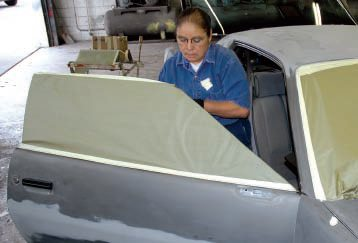 Most one-day type paint shops are used to masking everything on a vehicle, so Alisa made quick work of all the windows…
