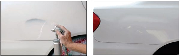 Then you can spot-paint the area using paint color-matched to that on you car. If your car is single-stage catalyzed gloss (like this white), and you use similar paint for touch-up, you can color sand and rub out the spot-painted area and the repair will be nearly invisible. If you didn't sand off all primer overspray first, you will see a ring or halo of primer around the spot paint. If your paint is base-coat/clear-coat (highly recommended with metallics), such repairs are even easier: do your repair and prime it; sand back the primer; spot paint the primed area with color-matched base coat; then (with-out any sanding) cover a larger area with clear, and then color sand and rub out the whole area.
