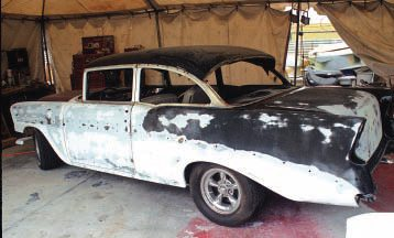 Here's a similar car that has been sanded and partly stripped, ready for new paint. Assuming it's all straight and smooth, I'd spray some sealer on any bare metal spots (if not the whole car, just to be sure), and then mask and spray color. This is exactly what we did with several cars as teens (short of taking glass out). We then had them sprayed by a local painter, with never any problems. With your own garage and equipment, you can do the painting yourself.