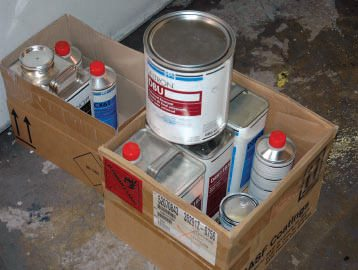 "It's obviously better to buy your paint when you're ready to use it. This is the pearl base coat and clear we used for the ""scuff and squirt"" job you see in Chapter 8. Again, all products are the same brand, and represent just the pearl and clear, with catalyst/reducer (the white base coat already being on the car). The bad news is that this amount of paint cost nearly $500; the good news is that we only used half of it for the job. Further, if you spray it yourself, $500 is a whole lot less than a $2,000 to$3,000 (or much more) pearl-and-clear custom paint job."