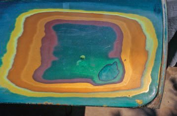 Before stripping the car, Jim sanded through all the previous paint layers so he could keep a record of all the colors that had been on it. This graphically shows how much paint was on the car (and this was all old, crinkly lacquer); it all had to be stripped off before a good, new paint job could be done.