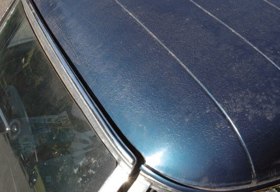 "On the roof of this car, however, we see that the paint is crazed and checked. Assuming only the top coat of paint is so affected, it either has to be completely sanded off (down to stable undercoats), or strip just the roof of the car, either by media-blasting or liquid hand-stripping. If the checking isn't too bad, you might be able to sand it smooth and coat it with today's catalyzed high-fill primer. But often such checking will ""telegraph"" (through shrink-age) back to the surface, especially after new paint is rubbed out."