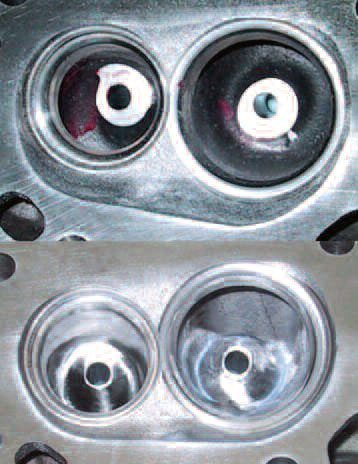 From the upper view of this Ford 5.0 Mustang head, it is easy to conclude that the guide bosses are hardly conducive to good flow. Doing nothing more than the seemingly obvious of streamlining the guide bosses (as in the lower photo) increased rear-wheel output of a stock machine from 198 to 214 hp. The time involved was less than three hours.