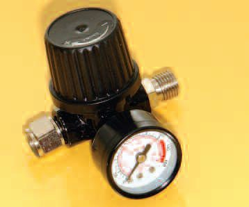 If your air compressor does not have an easy-to-use pressure regulator, then get yourself a budget one (as seen here) to control speed.