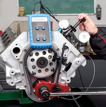 Crank position is constantly displayed, as is cam lobe position.