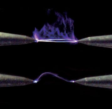 Here is what a plasma booster can do for a spark. The lower example is that generated by a high-output competition ignition system. The upper example is the result of adding a plasma booster to the system that produced the lower spark.