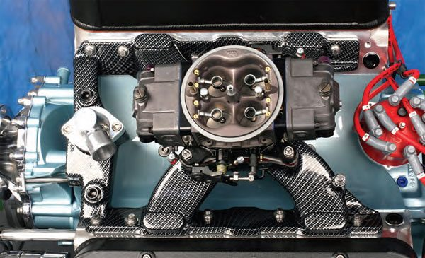 """Overhead view of the """"carbon fiber"""" manifold on a Pontiac 455 that we bored/stroked to 501 ci."""