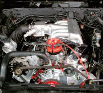 Here is the fuel-injected system I was using on one of my 5.0 Mustangs at the time of this writing. I am just about to install another cold-air system to evaluate on the chassis dyno.