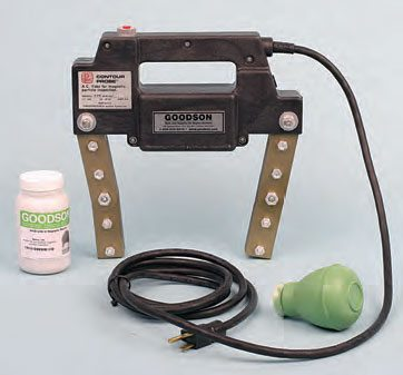 A hand-held magnetic checker has two magnetic poles. The poles are positioned on either side of the suspect area, and a special easy-to-view metal powder is sprayed onto the area. With the unit turned on, a field is created that draws the powder into the crack for easy identification. Shown here are Goodson's electric magnetic-particle tester MMP-210, a container of inspection powder, and a powder duster. Goodson supplies a wide range of tools and supplies dedicated to the needs of pro engine builders.